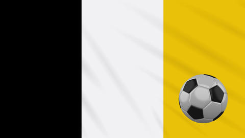 Matabeleland flag and soccer ball rotates on background of waving cloth, loop Animation