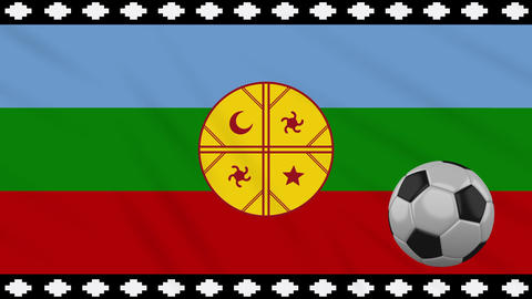 Mapuche flag and soccer ball rotates on background of waving cloth, loop Animation