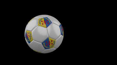 Kabylia flag on flying soccer ball on transparent background, alpha channel Animation