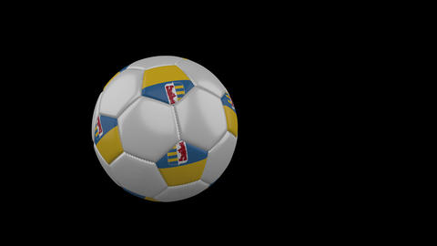 Zakarpattia Oblast flag on flying soccer ball on transparent background, alpha Animation