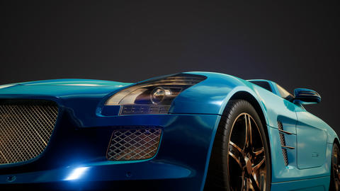 luxury sport car in dark studio with bright lights Live Action