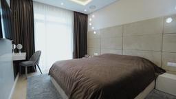 Home interior walk through bedroom. modern apartment Live Action