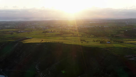 Sunset in countryside landscape. High angle view Live Action