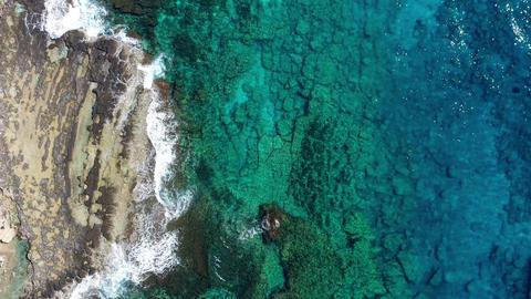 Overhead view of rocky coastline Live Action