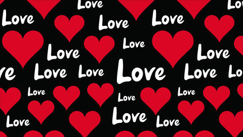 Love text on black background Animation