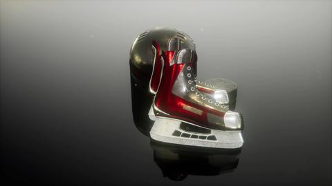 loop hockey equipment in the dark Stock Video Footage
