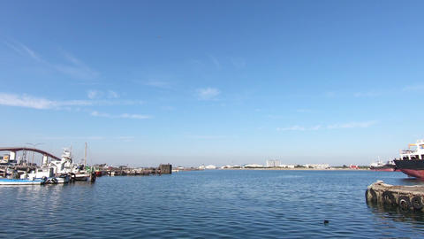 Landscape of blue sky and fishing port Live Action