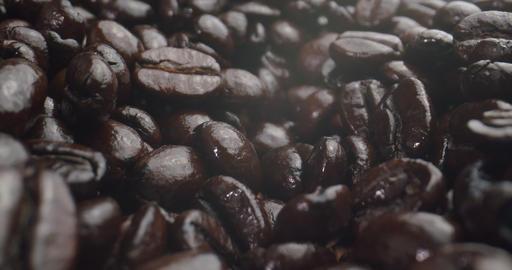 Macro Probe Shot of Dark Coffee Beans Live Action