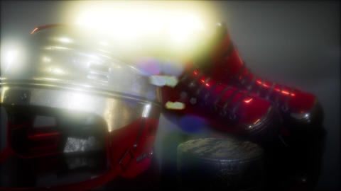 hockey equipment in the dark Stock Video Footage