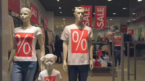 Close-up mannequins in the clothing Department. Sale in a clothing store in a Live Action