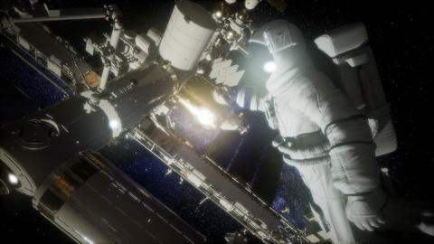 Astronaut outside the International Space Station on a spacewalk Live Action