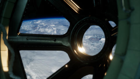 Cockpit view from International Space Station operating nearby of planet Earth Live Action