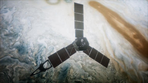 Juno sattelite orbiting Jupiter Live Action