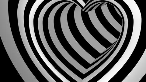 Moving Inside Heart Shaped Tunnel Animation