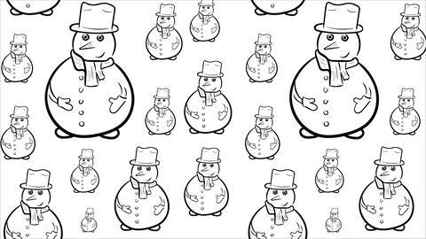 Snowmen contours on white background Animation