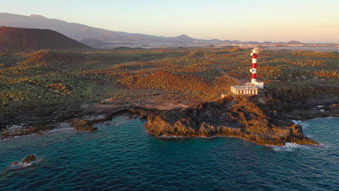 View from the height of the lighthouse Faro de Rasca, nature reserve and Live Action