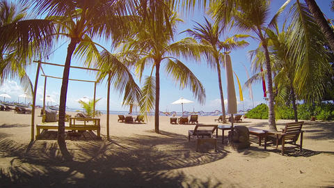 Beautifully Groomed Sand of a Luxury Resort's Private. Tropical Beach Footage