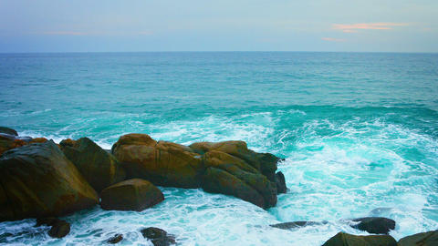 Tropical Waves Crash over Boulders. with Sound Footage