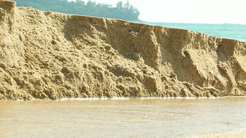 Rain Runoff Eroding Beach Sand Footage