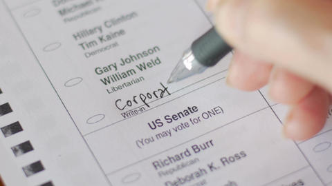 A voter writes in Corporate America for the President of the United States and t Footage