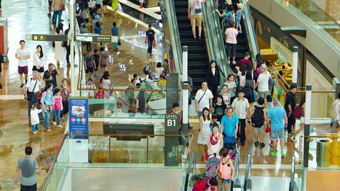 Customer haotic flow inside of big shopping mall. Marina Bay Sands Footage