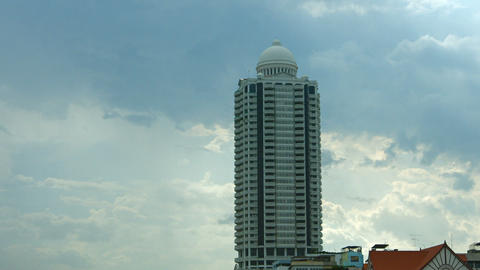 Bangkok River Park Condominium building on sky background Footage