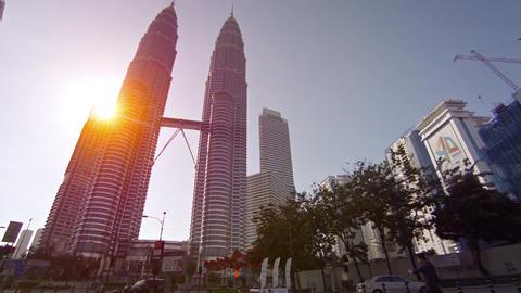 Petronas Twin Towers in downtown Kuala Lumpur. Malaysia Footage