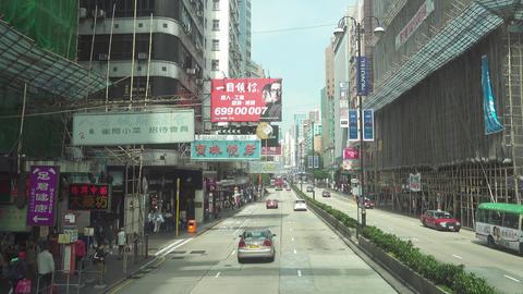 Streets of Hong Kong, view from double-decker bus Footage