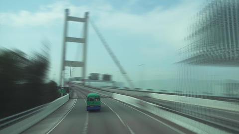 Bridge in Hong Kong, view from double-decker bus Footage