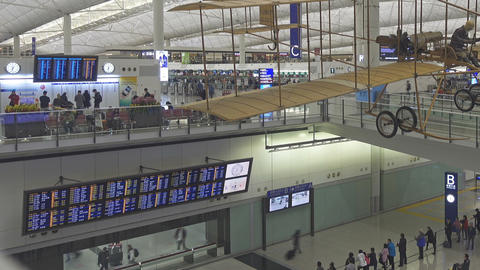 Arrival Hall in Hong Kong International Airport Footage