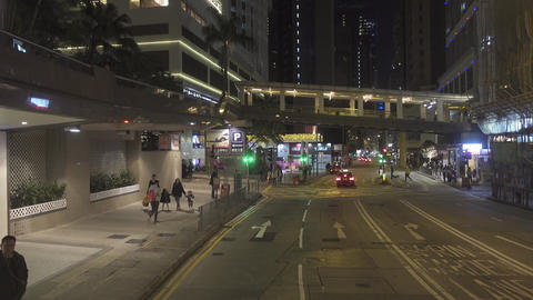 Night streets of Hong Kong, view from bus Footage