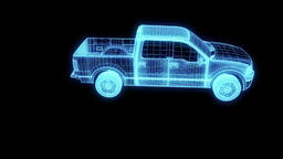 Truck Car in Hologram Wireframe Style. Nice 3D Rendering Animation