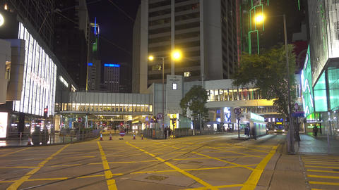 Night streets of Hong Kong, moving bus, tram, cars Footage