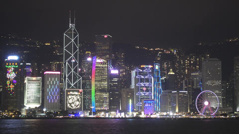 Light show in Hong Kong and Ferry boat Footage
