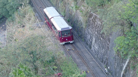 Peak Train carries passengers to Victoria Peak Footage