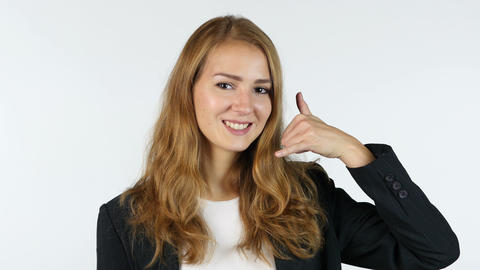 Businesswoman Showing Gesture Call Me , call center , Portrait, White background Live Action