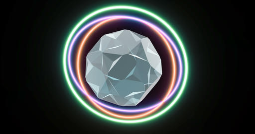 Abstract neon circles on transparent background. Power energy element. Light Live Action