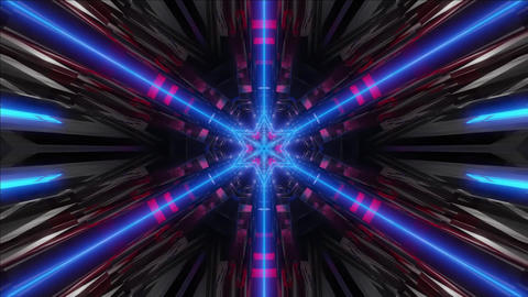seamless looped 3D rendering animation of an abstract blue glowing kaleidoscope CG動画