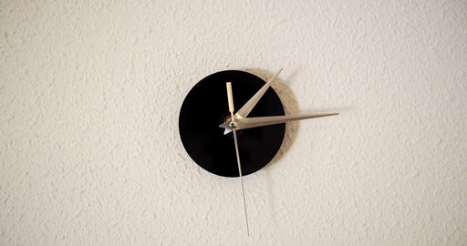 Clock on white background and movement of clock hands. Time lapse clock with Live Action