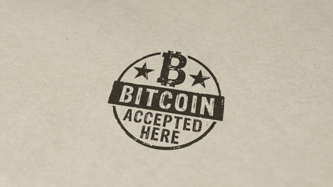 Bitcoin accepted here stamp and stamping animation Animation