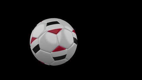 Yemen flag on flying soccer ball on transparent background, alpha channel Animation