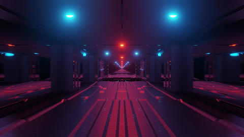 futuristic scifi space tunnel corridor with glowing lights and glass windows and Animation