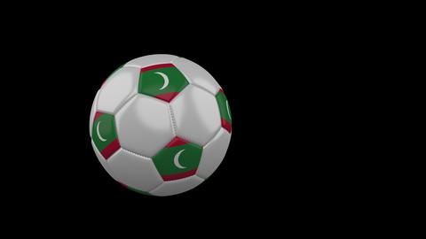 Maldives flag on flying soccer ball on transparent background, alpha channel Animation