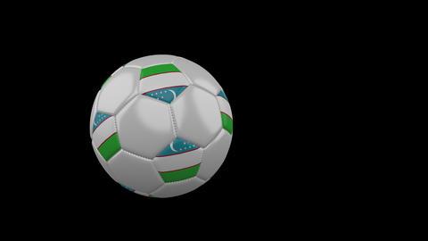 Uzbekistan flag on flying soccer ball on transparent background, alpha channel Animation