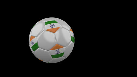 India flag on flying soccer ball on transparent background, alpha channel Animation