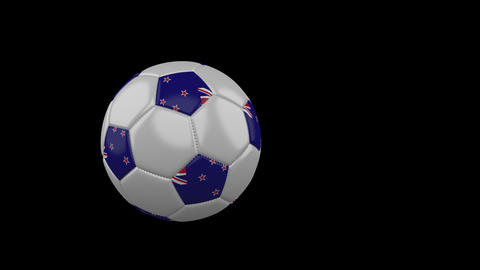 New Zealand flag on flying soccer ball on transparent background, alpha channel Animation