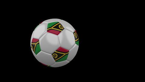 Vanatu flag on flying soccer ball on transparent background, alpha channel Animation