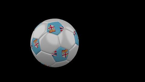 Fiji flag on flying soccer ball on transparent background, alpha channel Animation