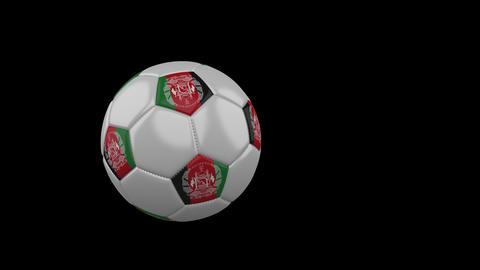 Afghanistan flag on flying soccer ball on transparent background, alpha channel Animation