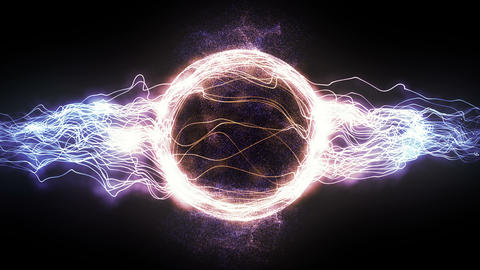 Abstract 4K Motion Graphic Looping Background, Coloured Energy Circle Plasma Ball Formed by Power Animation